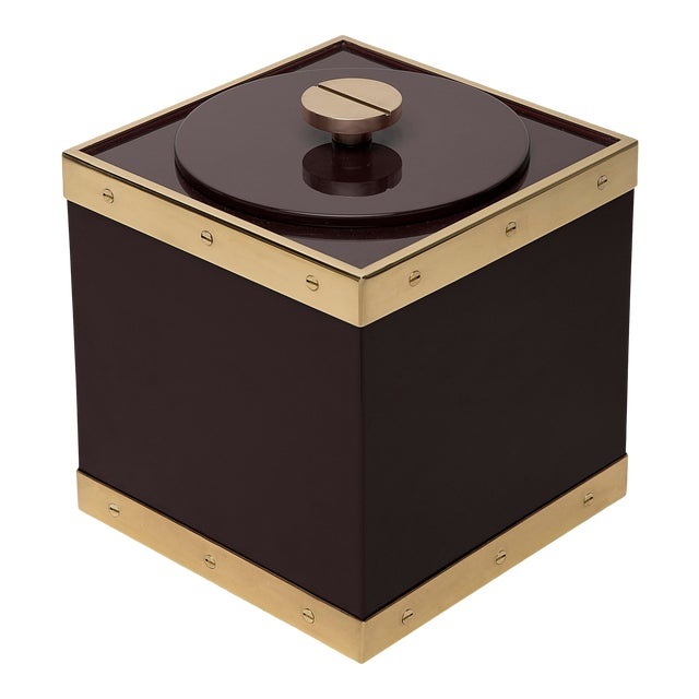Edge Ice Bucket in Brown / Brass - Flair Home for The Lacquer Company For Sale