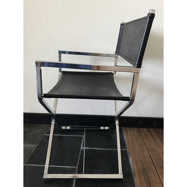 Vintage Mid-Century Modern Black Vinyl & Chrome Director Chair - Image 4 of 8