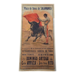 Vintage 1946 Spanish Bullfighting Poster