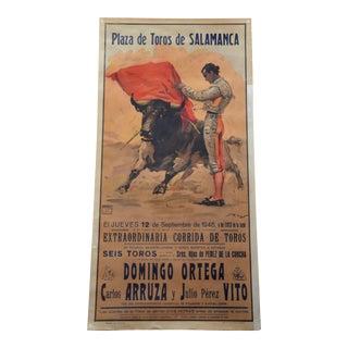 Vintage 1946 Spanish Bullfighting Poster For Sale