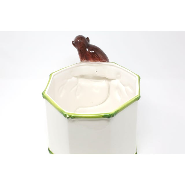 Octagonal Ceramic Planter With Monkey and Bamboo - Made in Italy For Sale In Tampa - Image 6 of 11