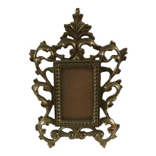 Antique Ornate Solid Cast Brass Picture Frame For Sale
