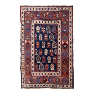 1870s Handmade Antique Caucasian Kazak Rug 4.1' X 6.3' For Sale