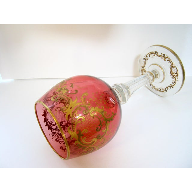 Antique Gold Encrusted Crystal Chalice Vase For Sale - Image 4 of 7