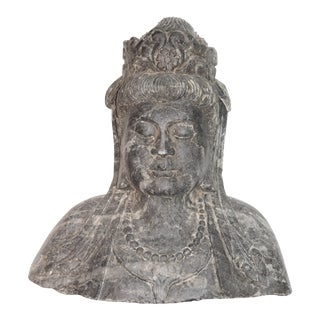 Antique Stone Kwan Yin Goddess Bust For Sale