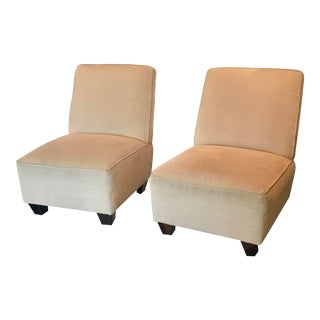 2000s Pair of Occasional Slipper Chairs by Bloomingdales For Sale