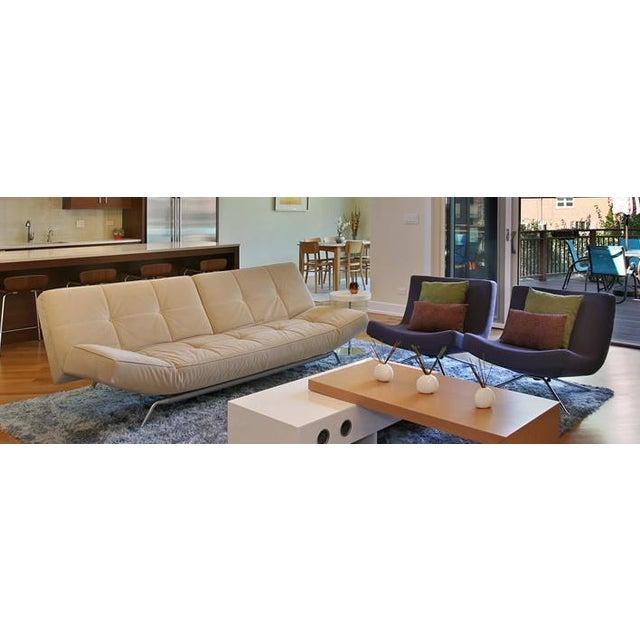 "Modern Ligne Roset ""Smala"" Sofa in Beige Alcantara For Sale - Image 3 of 5"
