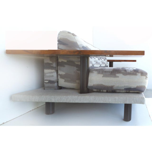 1980s Italian Burl-Wood Upholstered Loveseat For Sale - Image 5 of 11