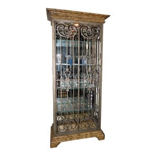 Lighted Curio Display Cabinet With Scrolled Iron Sides and Doors For Sale