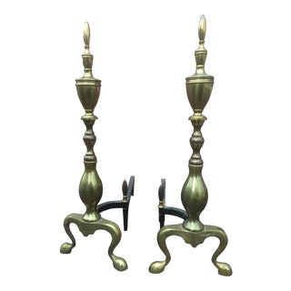 1920s Antique Brass Andirons - A Pair For Sale