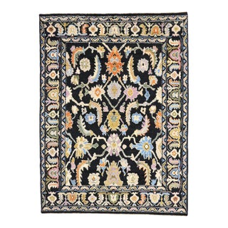 Contemporary Black Oushak Style Rug with Modern Design