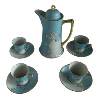 Japanese Powdered Blue Hand-Painted Chocolate Pot Set For Sale