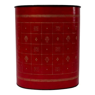 Red Leather Waste Basket For Sale