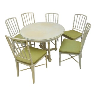 1973 Hollywood Regency Drexel Kensington Faux Bamboo Dining Set - 7 Pieces For Sale