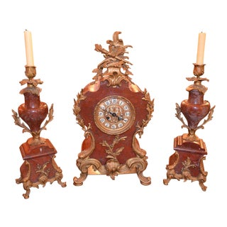 Antique French Marble Mantel Clock and 2 Candle Holders For Sale