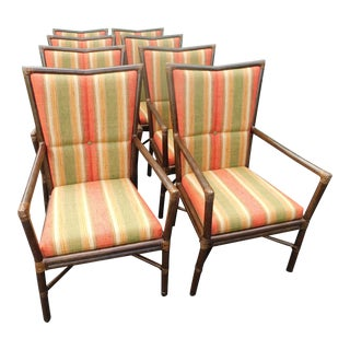 Barbara Barry for McGuire Rattan Upholstered Chairs - Set of 8 For Sale