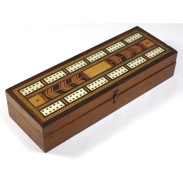 19th Century Victorian Inlay Mahogany Cribbage Board Game Box For Sale - Image 13 of 13