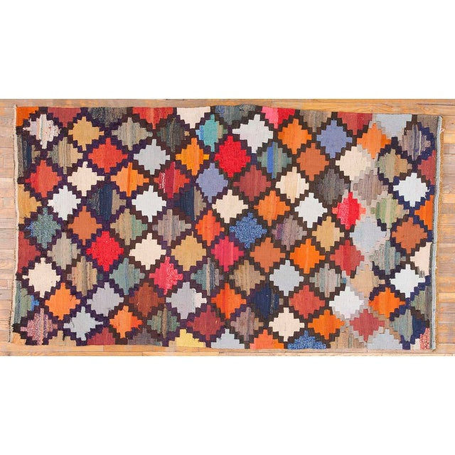 1990s Colorful Patterned Diamond Persian Kilim Rug - 4′6″ × 8′ For Sale - Image 5 of 5