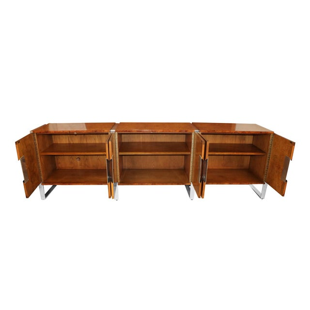 Mid-Century Modern Mid Century Burl Walnut Brushed Chrome Sideboard Buffet Pace Collection For Sale - Image 3 of 11