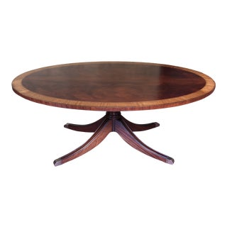 Ethan Allen Thornton Elliptical Oval Inlaid Mahogany Coffee Table For Sale