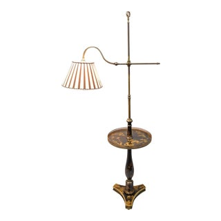 Vintage Mid Century Chinoiserie Black & Gold Lacquer Brass Adjustable Floor Lamp For Sale