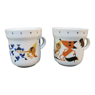 Richard Ginori Italy Pinocchio Animal Bird Theme Coffee Cup Set of 2 For Sale