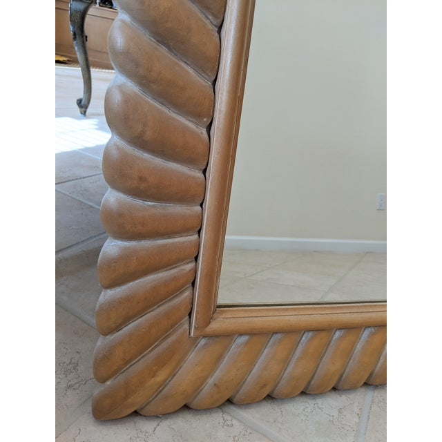 1970s 1970s Italian Carved Natural Wood Mirror For Sale - Image 5 of 8