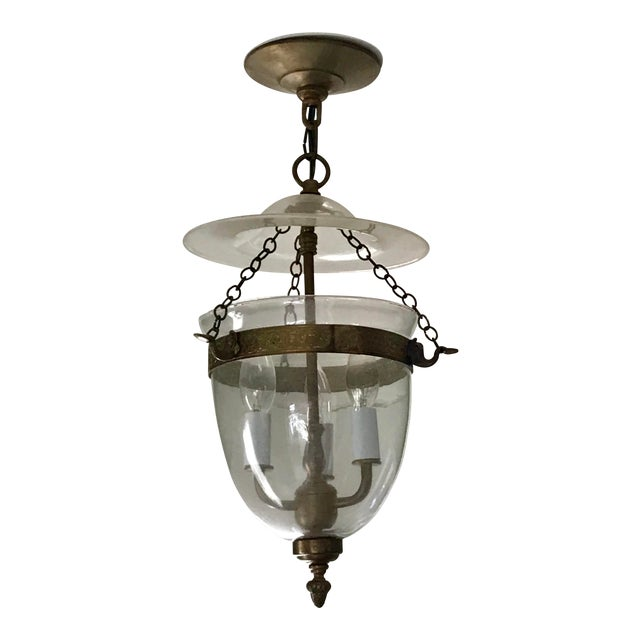 Set of 3, Clear Glass and Brass Bell Jar, Three Candle, Light Fixture For Sale