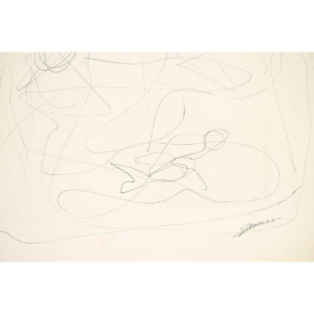 Abstract Mid-Century Modern Vintage Abstract Line Drawing on Paper For Sale - Image 3 of 6
