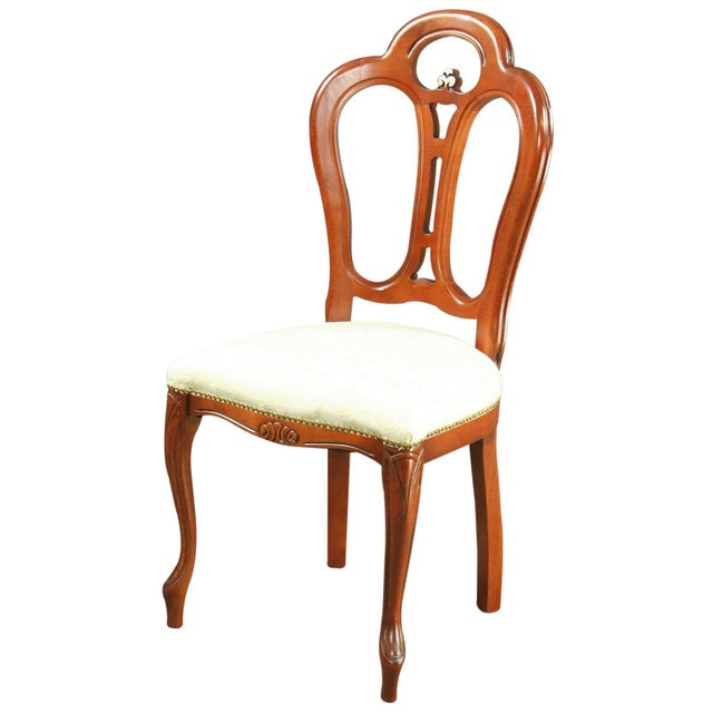 Italian Rococo-Style Mahogany Chair For Sale