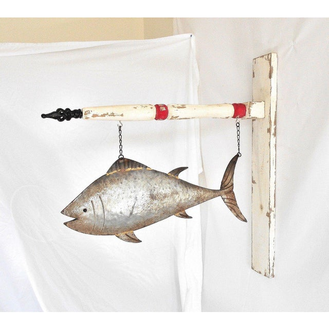 968ba7fbea114 Red Hanging Metal Fish Sign on Wood Post For Sale - Image 8 of 9