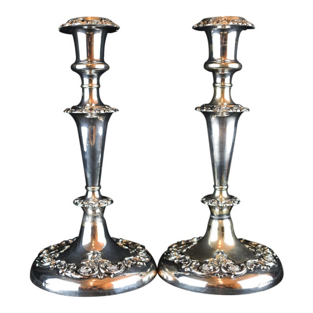 19th Century Victorian Floral Silver Plate Candlesticks - a Pair For Sale