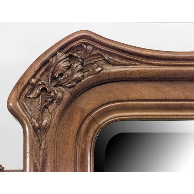 French Art Nouveau walnut 3 way (triptych) cheval mirror with carved floral design on frame (att: LOUIS MAJORELLE)
