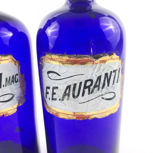 Antique 1800s English Cobalt Blue Apothecary Bottles - a Pair For Sale - Image 4 of 6