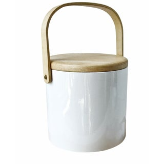 Georges Briard Mid-Century White Wood Ice Bucket