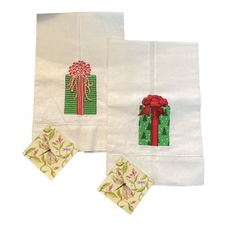White Embroidered Linen Guest Towel For Sale