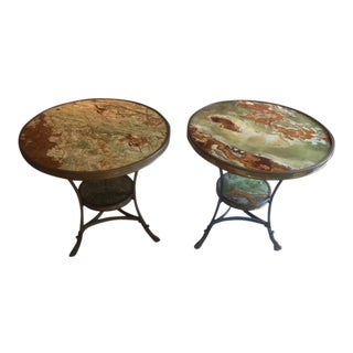 1900s French Bronze and Onyx Gueridon Tables - a Pair For Sale