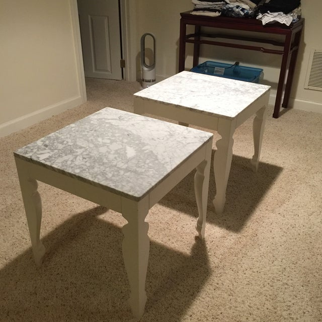 Marble & Wood End Tables - A Pair - Image 4 of 5