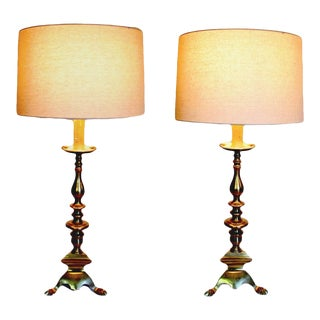 1940s Solid Brass Table Lamps With Candle Tops For Sale