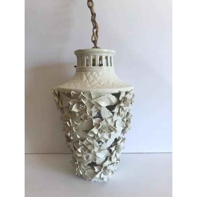 1960's Italian Blanc De Chine Floral Ceramic Pendant Lights For Sale - Image 10 of 13