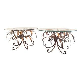 Pair of Hans Kogl Hollywood Regency Gilt Leaf End Tables For Sale