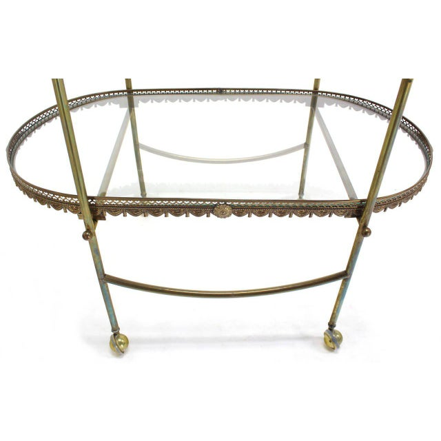 Early 20th Century Two-Tier Brass Serving Cart Table with Removable Trays For Sale - Image 5 of 10