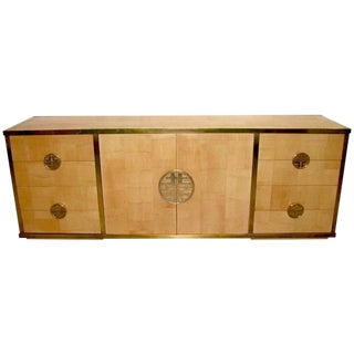 Sinopoli 1970s Asian Style Back Finished Brass Bamboo Sideboard / Cabinet For Sale