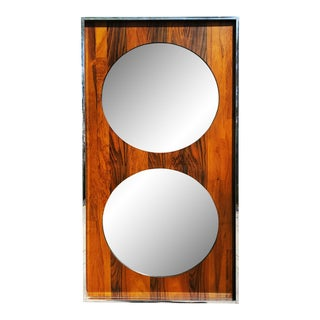 A Mid-Century Modern Space-Age Chrome and Rosewood Pop Mirror For Sale