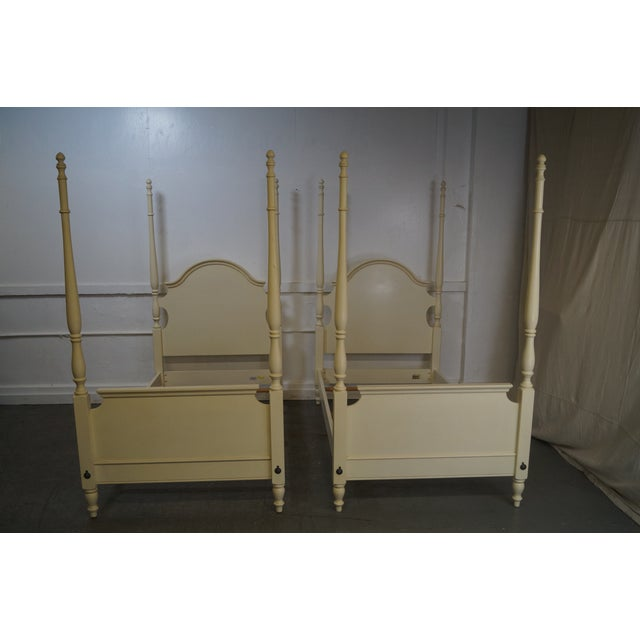 Ethan Allen Painted Twin Poster Beds - Pair - Image 2 of 10