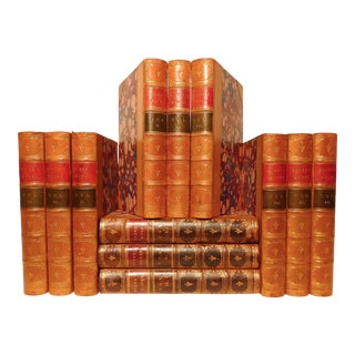 Mid 19th Century Decorative Leather Volume Set, Burke's Works - 12 Books For Sale