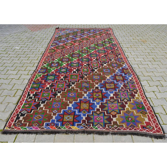 Handwoven Turkish Kilim Rug. Traditional Oushak Area Rug Braided Kilim - 6′ X 13′5″ For Sale - Image 4 of 12
