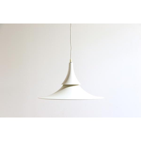 Hamalux Fluted White Hanging Lamp For Sale In New York - Image 6 of 6