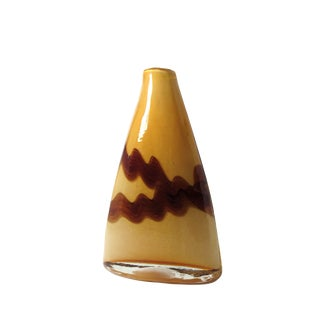 1970's Vintage Hand Blown Cased Glass Triangle Vase For Sale