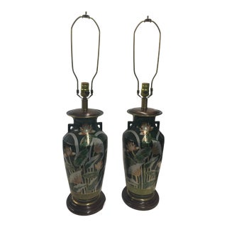 Pair of Frederick Cooper Hand Painted Lotus Lamps For Sale